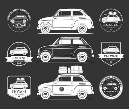 Set of small european classic car silhouettes in vintage style. Car wash, rent, travel, service, garage labels, icons. White vector design elements isolated on black background Illustration