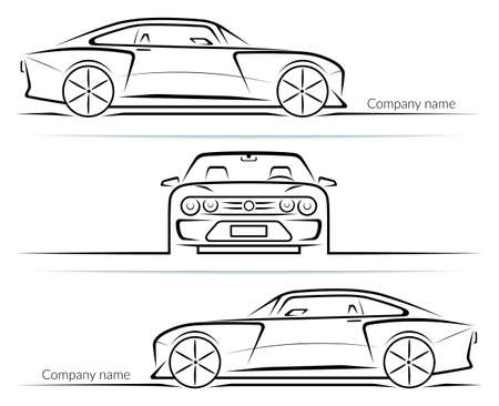 Set of sports car silhouettes outlines contours isolated on white background. Vector illustration Vetores