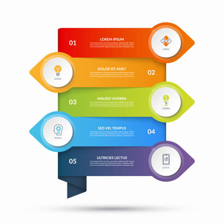 Infographic template with arrows pointing in opposite directions and circular elements, buttons. Business concept with 5 options, steps. Can be used as diagram, graph, chart, timeline, workflow layout Vetores
