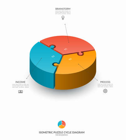 Infographic isometric puzzle circular template. Cycle diagram with 3 steps, pieces, parts. 3d process chart that can be used for report, business analytics, data visualization and presentation.