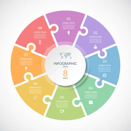Vector infographic puzzle circular template. Cycle diagram with 8 parts, options. Can be used for chart, graph, report, presentation, web design.