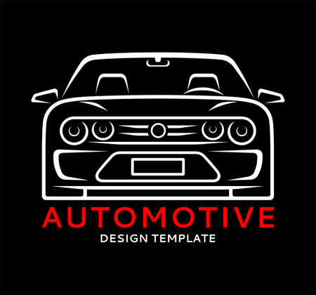 Car silhouette. Front view of sports car in linear style. Vector illustration