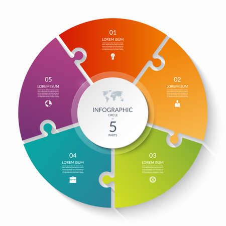 Puzzle infographic circle with 5 steps, options, pieces. Five-part cycle chart. Can be used for diagram, graph, report, presentation, web design.