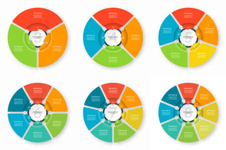 Set of infographic process charts. Circular design templates with 3, 4, 5, 6, 7, 8 arrows pointing to the center. Reklamní fotografie