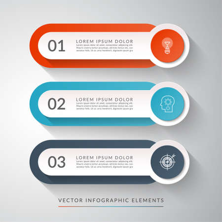 3-step process chart for infographics. Clean colorful vector template that can be used for diagram, chart, graph, web design.