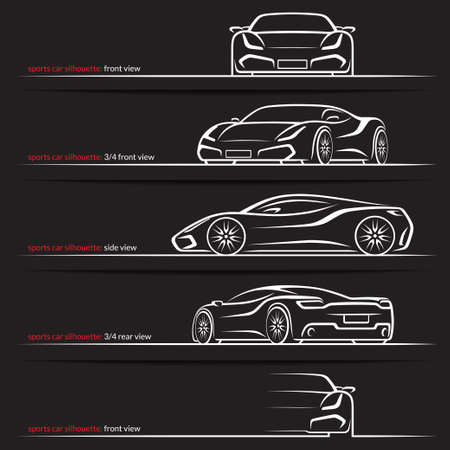 Modern super car, sports car vector silhouettes, outlines, contours isolated on black background. Front, rear and side views. 벡터 (일러스트)