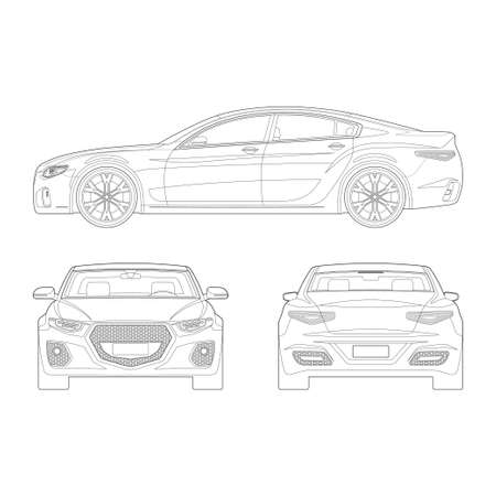 Car in outlines. Front, side, rear view. Set of modern vehicle blueprints isolated on white background