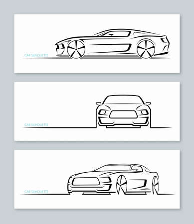 Set of muscle car silhouettes isolated on white background.