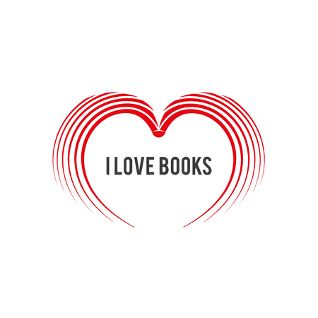 popularized: Illustration popularized to reading. Hearth shaped book on a white background with the text: I love books