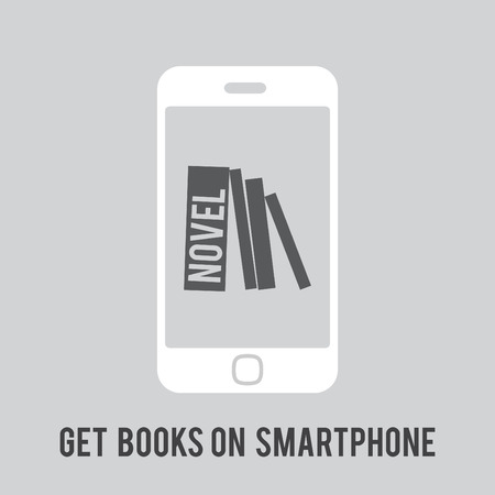 Reading Concept Mobile White Smartphone Symbol, in the Middle of the Dark Display Different Books Symbolize Rectangles Gray, Gray, White Background, Slogan