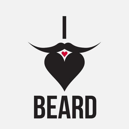 popularized: Illustration to popularized beard - beard shaping heart with text: I love beard