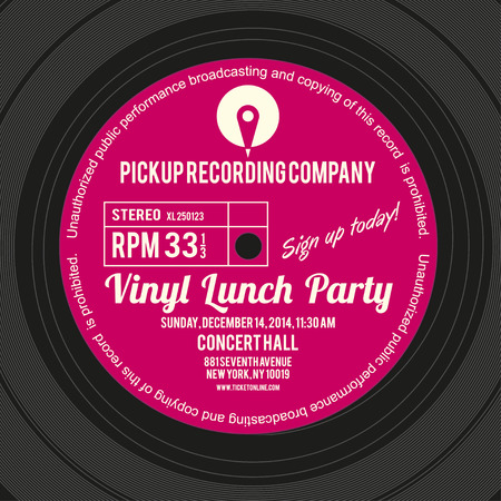 Vinyl label or cover layout design for using as concert poster of an album launch party