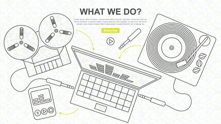 Digitization of Sound, Tape and Vinyl, Line Drawing, Website Design