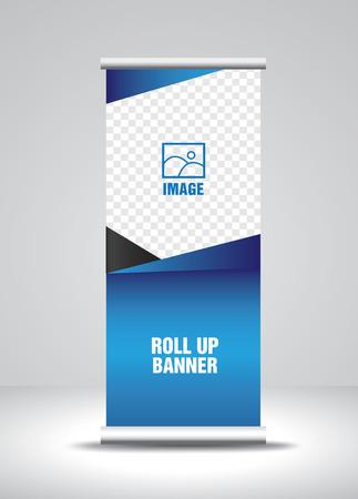 Roll up banner template vector, banner, stand, diseño de exposición, publicidad, pull up, x-banner y flag-banner layout Ilustración de vector