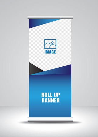 Roll up banner template vector, banner, stand, exhibition design, advertisement, pull up, x-banner and flag-banner layout Vetores