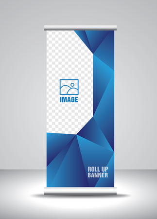 Roll up banner template vector, banner, stand, exhibition design, advertisement, pull up, x-banner and flag-banner layout, polygon background 向量圖像