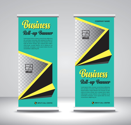 Green Roll up banner template vector, banner, stand, exhibition design, advertisement, pull up, x-banner and flag-banner layout, wave background  イラスト・ベクター素材