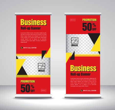 Red Roll up banner template vector, banner, stand, exhibition design, advertisement, pull up, x-banner and flag-banner layout, polygon background