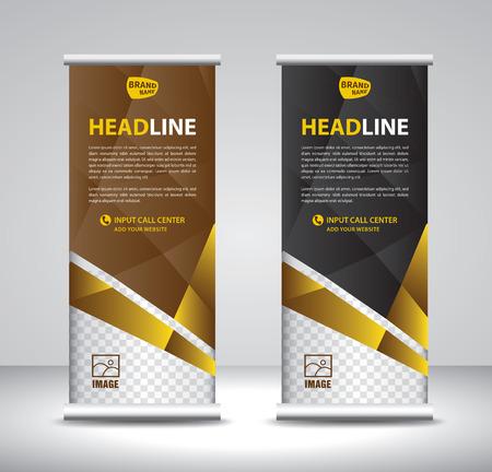 Roll up banner template vettoriale, banner, stand, design espositivo, pubblicità, pull up, layout x-banner e banner-bandiera, poster, presentazione, annuncio, stampa
