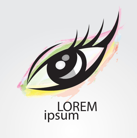 Eye vector icon, logo design for fashion, beauty, cosmetics, spa, web icon, hand drawn, colorful painting