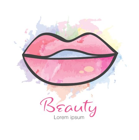Lips vector icon, logo design for fashion, beauty, cosmetics, spa, web icon, hand drawn, colorful painting