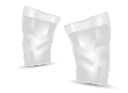 Vecteur d'emballage de sac de nourriture ou de boisson en papier blanc vierge, conception d'emballage, 3d, conception de produit, emballage réaliste