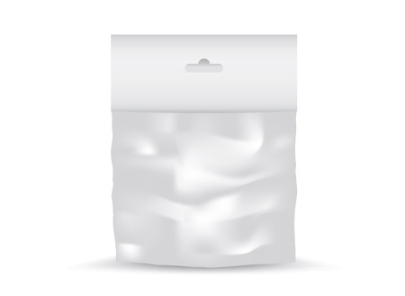 White Blank Plastic Pocket Bag vector, package design, 3d, product design, realistic packaging Illustration