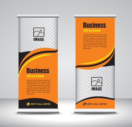 Naranja Roll up banner vector de plantilla, banner, stand, diseño de exposiciones, publicidad, pull up, x-banner y diseño de banner-banner, fondo abstracto