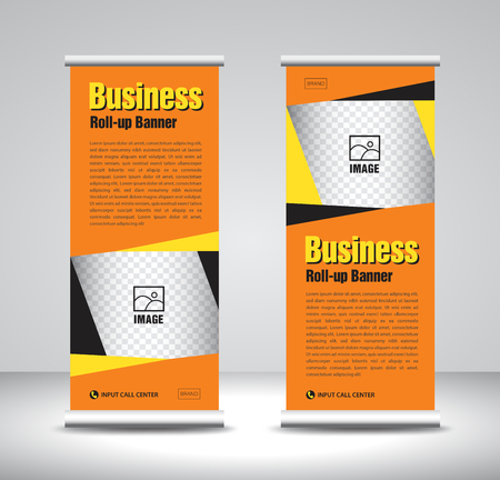 Orange Roll up banner template vector, banner, stand, exhibition design, advertisement, pull up, x-banner and flag-banner layout, abstract background  イラスト・ベクター素材