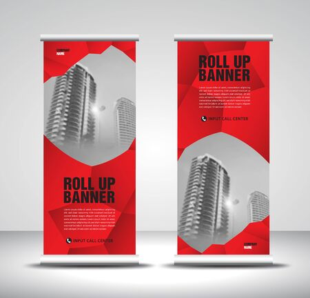 Red Roll up banner template vector, banner, stand, exhibition design, advertisement, pull up, x-banner and flag-banner layout, abstract background  イラスト・ベクター素材