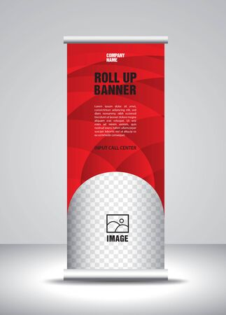 Red Roll up banner template vector, banner, stand, exhibition design, advertisement, pull up, x-banner and flag-banner layout
