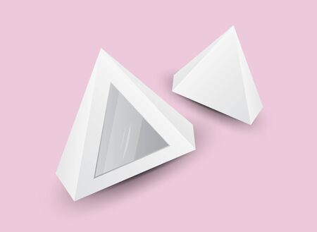 White 3d pyramid, Vector illustration, Box Packaging For Food, Gift Or Other Products, Product Packing, tent  Ilustracja