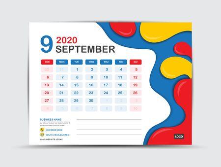 Calendar 2020 template, SEPTEMBER, Desk calendar 2020 template, Fluid colorful background, advertisement, Trendy minimal, creative design Vektorové ilustrace