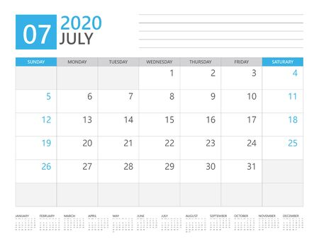 JULY 2020 calendar planner set for template corporate design week start on Sunday. desk calendar 2020 design, simple and clean design, 12 months yearly calendar set vector layout 일러스트