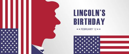 Lincolns birthday holiday background vector, USA  banner template, poster, billboard, card, invitation.