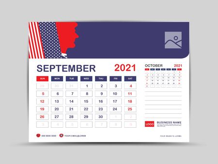 Desk calendar 2021 template, September Page vector for calendar 2021 template, Week starts on Monday, Can be use Place for Photo and Company Logo. Usa flag background concept. Ilustrace
