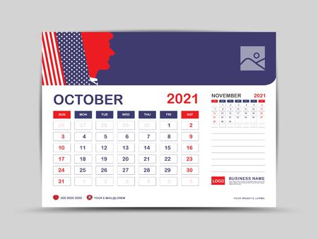 Desk calendar 2021 template, October Page vector for calendar 2021 template, Week starts on Monday, Can be use Place for Photo and Company Logo. Usa flag background concept. Ilustrace