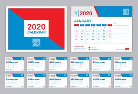 Calendar 2020 Template, Set Desk Calendar design, Set of 12 calendar pages  with Cover design vector, wall Calendar with Typographic, Week starts on Monday, Can be use Place Photo and Company Logo.