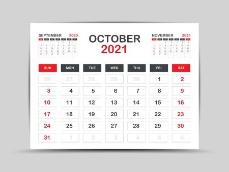 calendar 2021 template. October Page vector for calendar 2021 template. Table, Wall, Desk calendar design. Week starts on Monday, Minimal Diary Planner Design. painting, advertisement, Red background Ilustrace