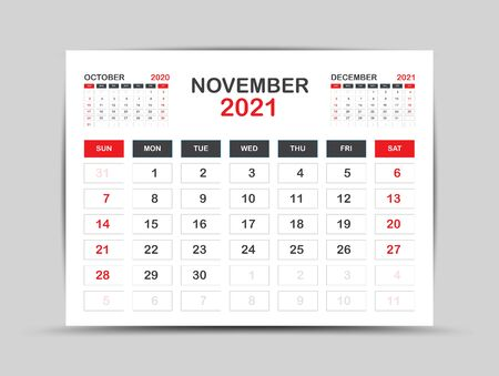 calendar 2021 template. November Page vector for calendar 2021 template. Table, Wall, Desk calendar design. Week starts on Monday, Minimal Diary Planner Design. painting, advertisement, Red background