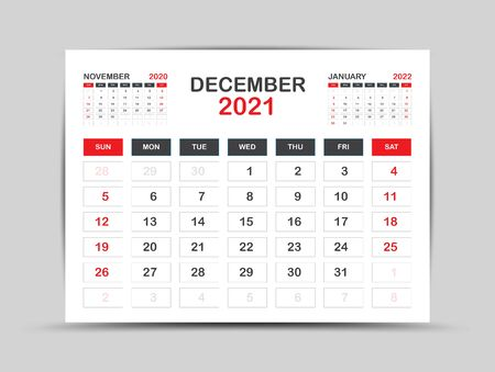 calendar 2021 template. December Page vector for calendar 2021 template. Table, Wall, Desk calendar design. Week starts on Monday, Minimal Diary Planner Design. painting, advertisement, Red background