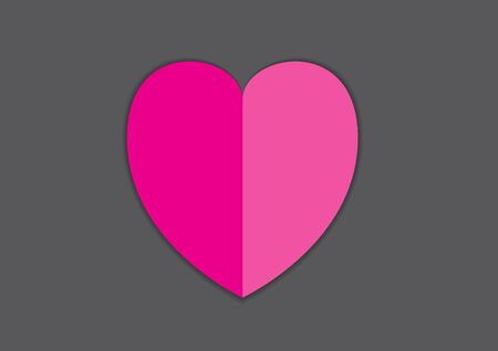Pink heart vector illustration for valentine's day, wedding. heart paper cut vector design