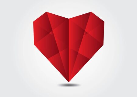 Red Heart polygonal vector illustration for valentines day, wedding card. Hand drawn heart.