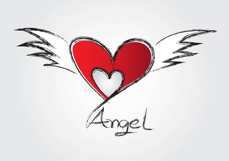 Red Heart shape and wing vector illustration for valentines day, wedding card, t-shirt. Hand drawn heart. design, web icon, angelic wings