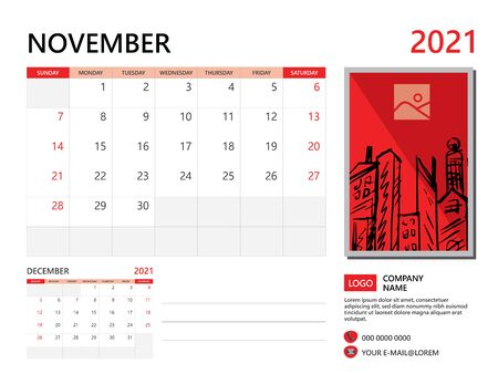 Calendar 2021 design, November month template, desk calendar 2021 layout, simple and clean design, advertisement, printing, Business template vector, Red background