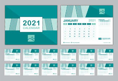 Calendar 2021 template vector, Set Desk calendar 2021, Planner vector diary in a Modern style, Week start on Sunday, Set of 12 Months, Blue cover design. Vetores
