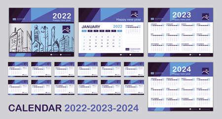 Calendar 2022, 2023, 2024 year template, Set Desk calendar 2022 template, Happy New year, minimal trendy, Wall calendar, Planner, Week start on Sunday, Set of 12 Months, Blue background, vector eps10 Vektoros illusztráció