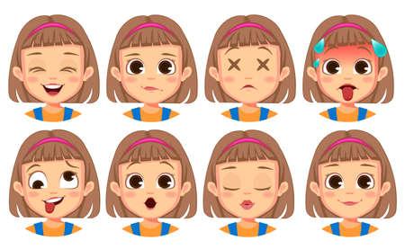 girl facial gestures set Vector