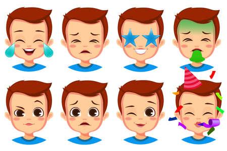 cute boy facial expression set Ilustración de vector