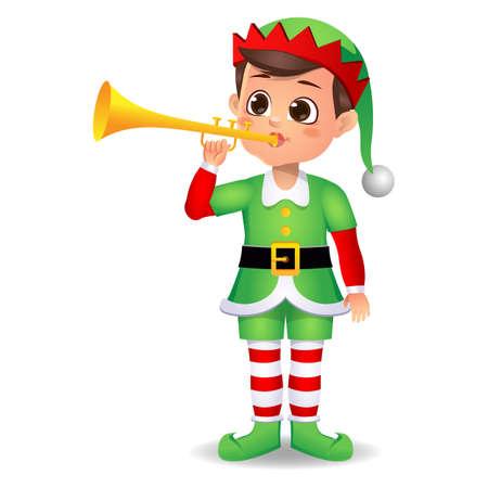 boy kid in elf dress playing music instrument Vector Illustratie